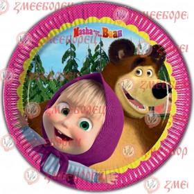 "Готова фотодекорация кръгла ""Маша и мечока 3"""
