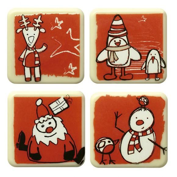 "Напечатана форма за шоколад с трансфер ""Коледни квадрати"""