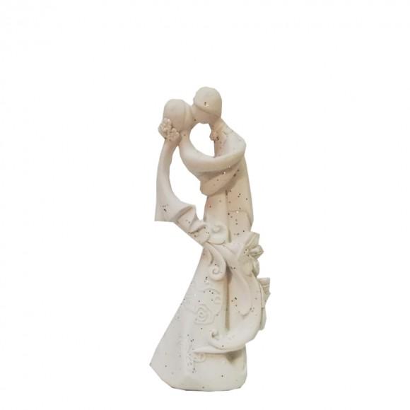 Сватбена фигурка - Брачна двойка - бяла с брокат