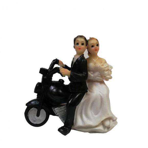 Сватбена фигурка - Брачна двойка на мотор - голяма