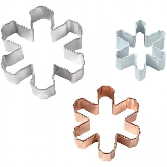 """Комплект метални кутери """"Снежинки"""" - 3 елемента"""